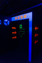 Base entrance in game room laser tag with fluorescent paint Royalty Free Stock Image