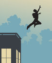 Base jump editable vector silhouette of a jumper leaping off a building Stock Photos