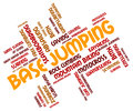 Base jumping indicates word parachuting and text meaning Stock Photography