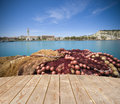 Base for seafood empty wooden tabletop and fishing net with harbor in the background ideal Stock Photography