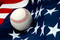 A baseball on the American flag Royalty Free Stock Photo