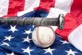 Baseball on American flag Royalty Free Stock Photo