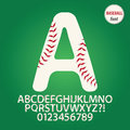 Baseball ball alphabet and digit vector set of Royalty Free Stock Photography
