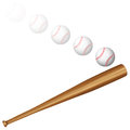 Baseball ball and bat on a white background Stock Photos