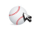 Baseball ball with cursor arrow sport shopping concept illustration Royalty Free Stock Images