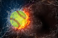 Baseball ball in fire and water on with lightening around on black background horizontal layout with text space Royalty Free Stock Image