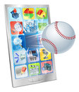 Baseball ball flying out of cell phone Stock Photography