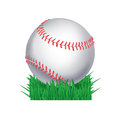 Baseball ball in grass Stock Photo