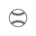 Baseball ball line icon, outline vector sign, linear style pictogram isolated on white. Royalty Free Stock Photo
