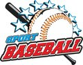 Baseball ball sports for t shirts prints and logos with bat is star Stock Images