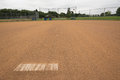 Baseball base on a field on a cloudy day Royalty Free Stock Images