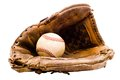 Baseball with baseball glove Royalty Free Stock Photography