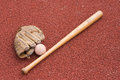 Baseball bat with ball and glove Royalty Free Stock Photo