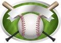 Baseball And Bat Emblem Illust...