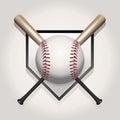 Baseball, Bat, Homeplate Illus...