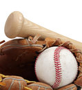 Baseball, bat, mitt Royalty Free Stock Photos