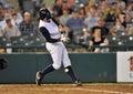 Baseball batter - foul ball off leg Royalty Free Stock Photo