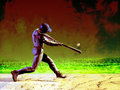 Baseball batter grunge image of at the crucial moment Royalty Free Stock Photography