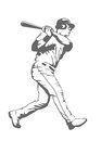 Baseball batter illustration of a player swinging the bat Royalty Free Stock Photos