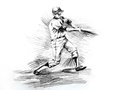 Baseball batter player hitting drawing Stock Photos