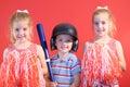 Baseball boy & cheerleaders Royalty Free Stock Photography