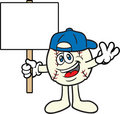 Baseball Cartoon Mascot With A Sign Royalty Free Stock Photo