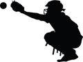 Baseball catcher silhouette Royalty Free Stock Photo