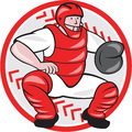 Baseball Catcher Catching Cartoon Royalty Free Stock Photo