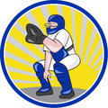 Baseball catcher catching side circle illustration of a squatting facing front done cartoon style on white background set inside Stock Photos