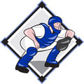 Baseball Catcher Catching Side Diamond Cartoon Royalty Free Stock Photo