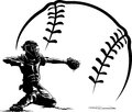Baseball catcher at home plate with stylized ball black and white illustration of a getting ready to throw out the runner in front Stock Photography