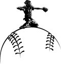 Baseball catcher on top a sytlized ball black and white illustration of at home plate getting ready to throw out the runner of Stock Photo