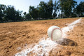 Baseball on chalk line Royalty Free Stock Photo