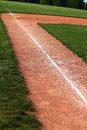 Baseball chalk line third base foul and concept for loving and playing Stock Images