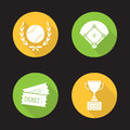 Baseball championship flat design long shadow icons set Royalty Free Stock Photo