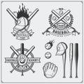 Baseball club emblems, labels and design elements. Baseball player, balls, helmets and bats. Baseball player, ball, helmet, glove