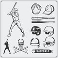 Baseball club emblems, labels and design elements. Baseball player, balls, helmets and bats. Baseball player, helmet, glove.