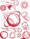 Baseball collection clip art of icons and elements Stock Image