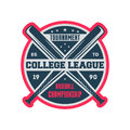 Baseball college league vintage label