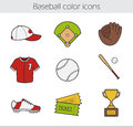 Baseball color icons set Royalty Free Stock Photo