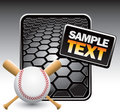 Baseball and crossed bats on black hexagon banner Royalty Free Stock Images