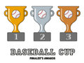 Baseball Cup Finalists Awards in Gold, Silver and Bronze Royalty Free Stock Photo