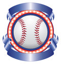 Baseball design with ribbons illustration of a done in red white and blue a and two blank for your text Stock Image