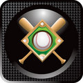 Baseball diamond and bats on black web button Stock Photo