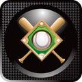 Baseball diamond and bats on black web button Royalty Free Stock Photo