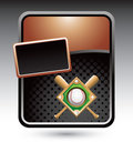 Baseball diamond and bats on bronze stylized ad Royalty Free Stock Photography