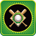 Baseball diamond and bats on green web icon Stock Image