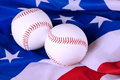 Baseball Equip on American Flag Royalty Free Stock Photos