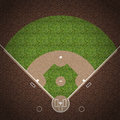 Baseball field an overhead view of an american with white markings painted on grass and gravel Royalty Free Stock Photo