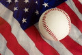 Baseball on flag Stock Photo